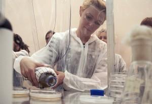 pooring agar agar into Petri dish